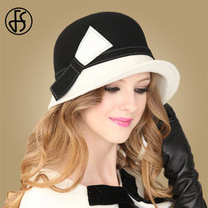 Image 2 - FS Wide Brim White Wool Hats Bow Bowler Fedora Hat For Women Chapeau Femme Feutre Winter Cloche Ladies Church Felt Fedoras Caps