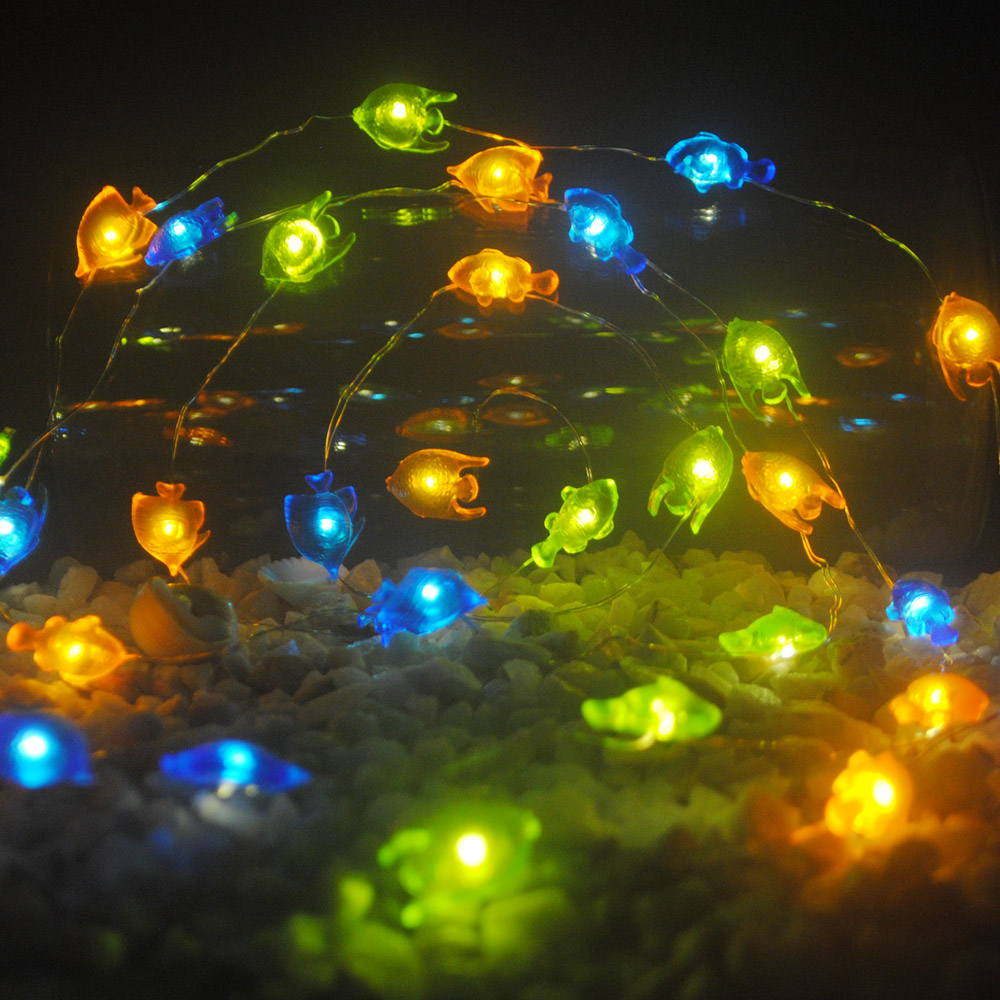 Tropical Fish LED Fairy String Lights 10 ft Battery Remote Dimmer ...