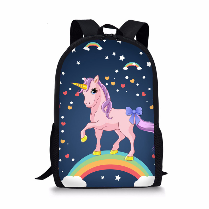 THIKIN Kids SchoolBag 3d Rainbow Unicorn School Bag Set Backpack For Girl Boys Schoolbag Galaxy Pink Color College Book Racksack