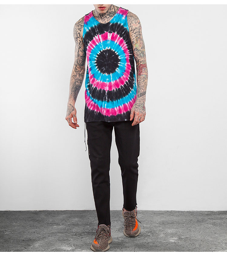 Aolamegs Tank Tops Men Tie Dye Rainbow Color Tee Sleeveless T Shirts Homme 2017 Spring Summer Hip Hop Fashion Streetwear M-XXL (8)