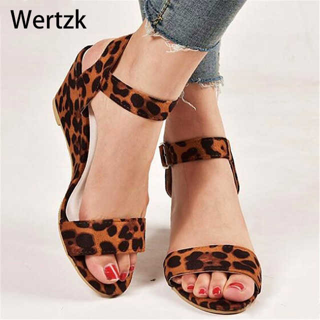 Wertzk Women Sandals 2019 Wedges Summer Casual Shoes Buckle Strap Roman Gladiator Sandals Women Sandalias Mujer D014