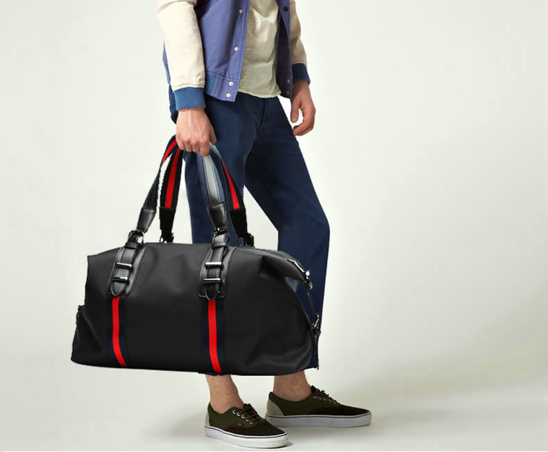 Men Black Stripe Business Short Trip Nylon Duffle Bag Waterproof Oxford Travel Bags Foldable H Luggage Medium size