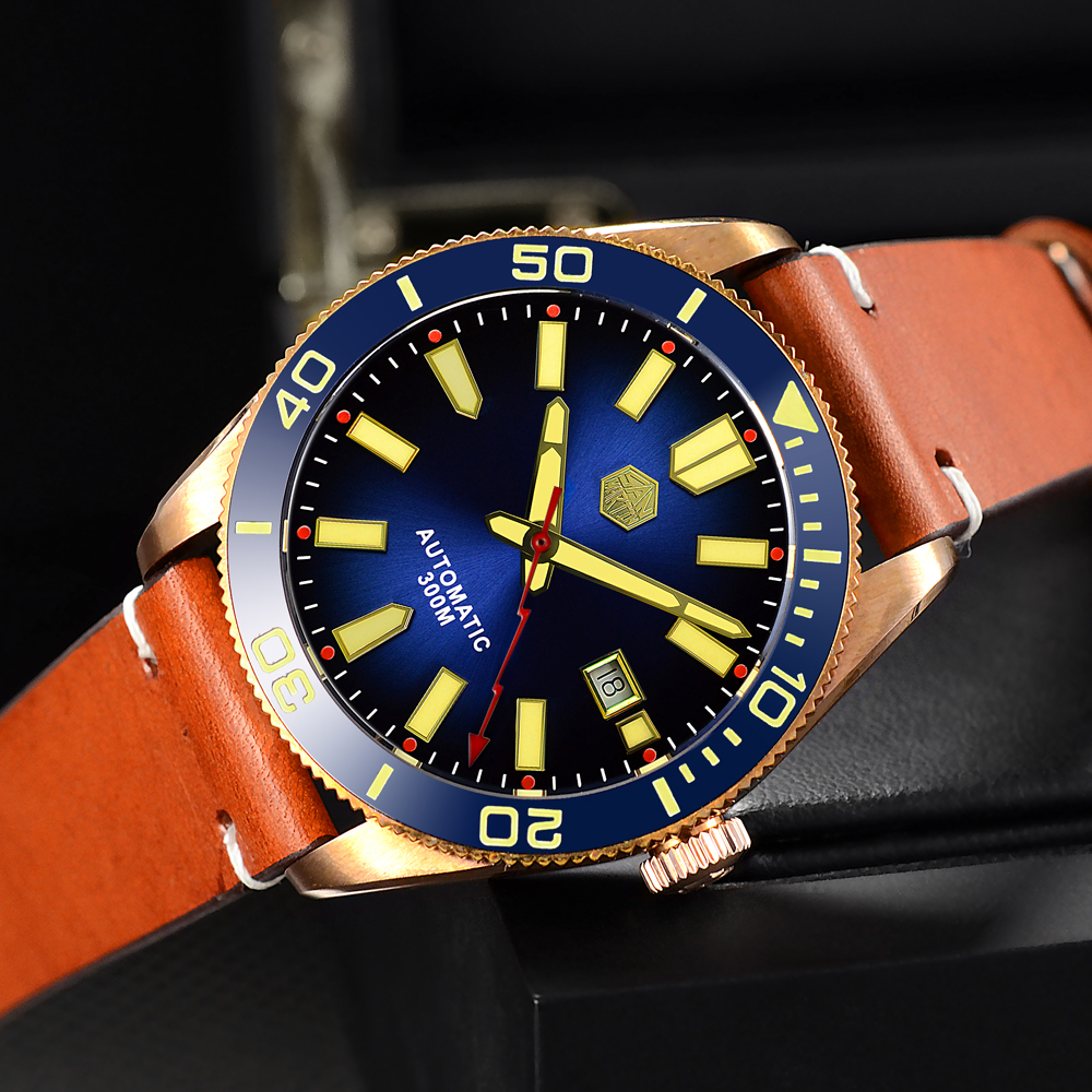 Men Fashion Formal Automatic Watch Vintage Bronze diving Watch 300m Water Resistant Ceramic Bezel Retro San Martin Wristwatch