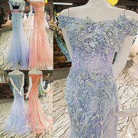QUEEN BRIDAL Sexy Evening Dresses Long Blue Pink Mermaid Tulle 3D Flowers Bride Evening Gown Prom Dress 2018 Robe De Soiree BY11
