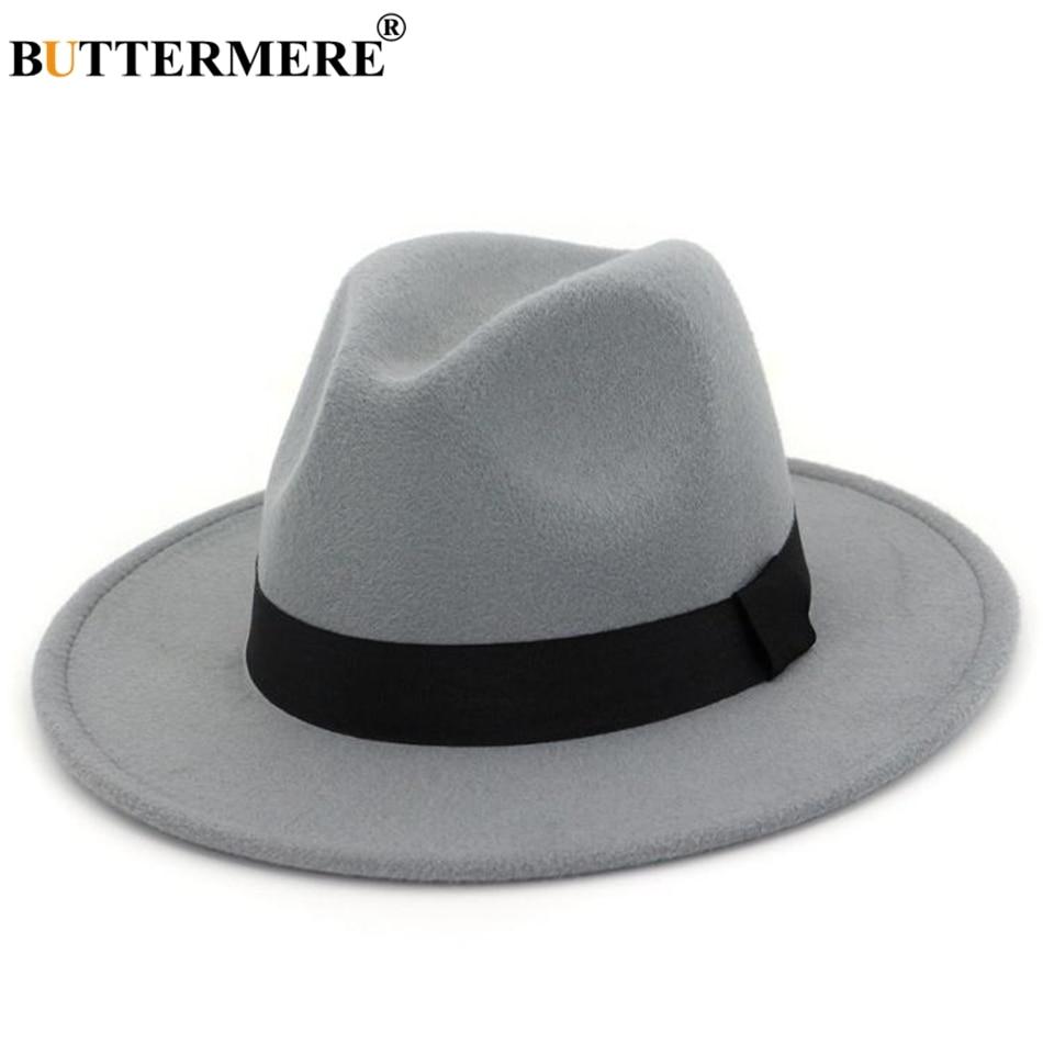 BUTTERMERE Fedora Hats Ladies Cotton Gray Jazz Hat Top Women Wide Brim British Classic Caps Female Autumn Winter Felt