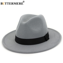 BUTTERMERE Fedora Hats Ladies Cotton Gray Jazz Hat Top Women Wide Brim British Classic Fedora Caps Female Autumn Winter Felt Hat