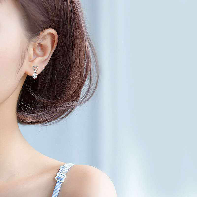 Inzatt Gaya Baru Nyata 925 Sterling Silver Crytal Hati Menjuntai Anting-Anting Gaya Romantis untuk Wanita Aksesoris Perhiasan Hadiah