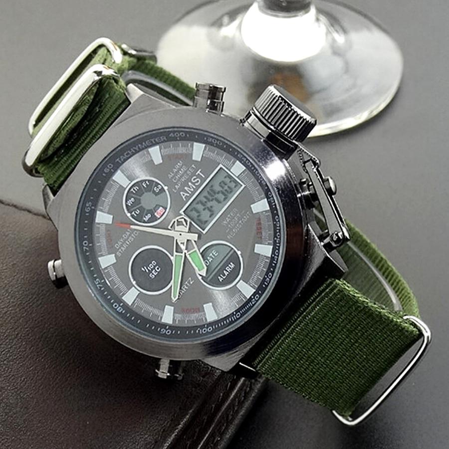 AMST Relojes militares Dive 50M Nylon y correa de cuero Relojes LED - Relojes para hombres - foto 5