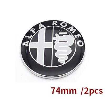 2 шт. 7,4 см ALFA ROMEO автомобилей Логотип эмблема значок наклейка для Mito 147 156 159 166 скидки черный белый Цвет 74 мм - Название цвета: Черный