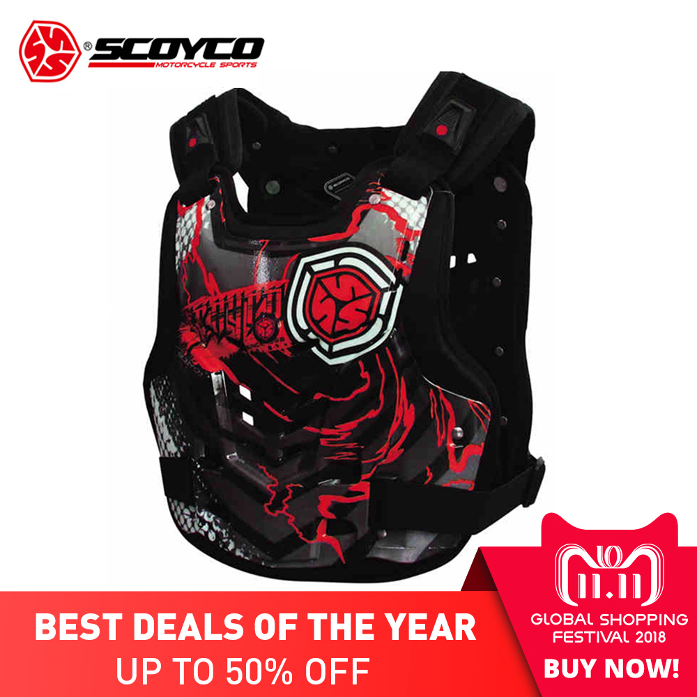 SCOYCO Men's Motorcycle Armor Moto Protector Motocross Armor Vest Body Protector Motorbike Vest Chest Back Protective Gear herobiker motorcycle armor chest back body armor vest motocross protective gears vest motorcycle jacket moto waistcoat l xl