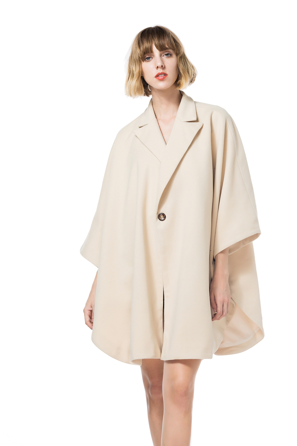 Maternity Solid Wool Poncho Cape Vintage Soft Loose Fitting Cardigan lapel Collar Worsted Poncho Coat 1 button hot sale butterfly and flower pattern feather pendant loose cloak coat poncho cape for women