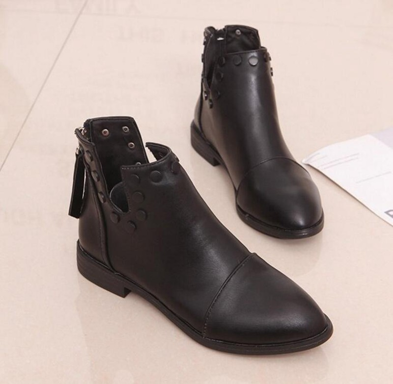 COOTELILI Fashion Rivet Ankle Boots For Women 2018 Autumn Winter Zipper Shoes Woman Black Casual Rubber Boots Women 35-39 (6)