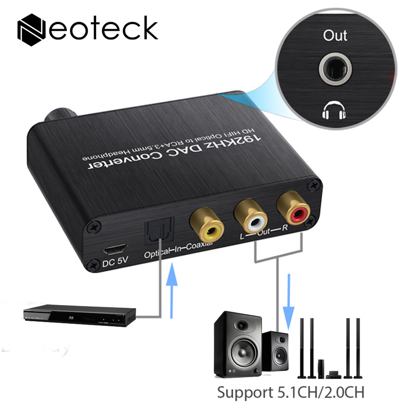 192Khz Digital to Analog Converter With Volume Control SPDIF Toslink to 3.5mm Jack RCA Support Dolby AC-3 DTS 5.1CH For HDTV DVD digital optical coaxial toslink to analog rca l r audio digital converter adapter dc 5v 1a with usb cable high speed
