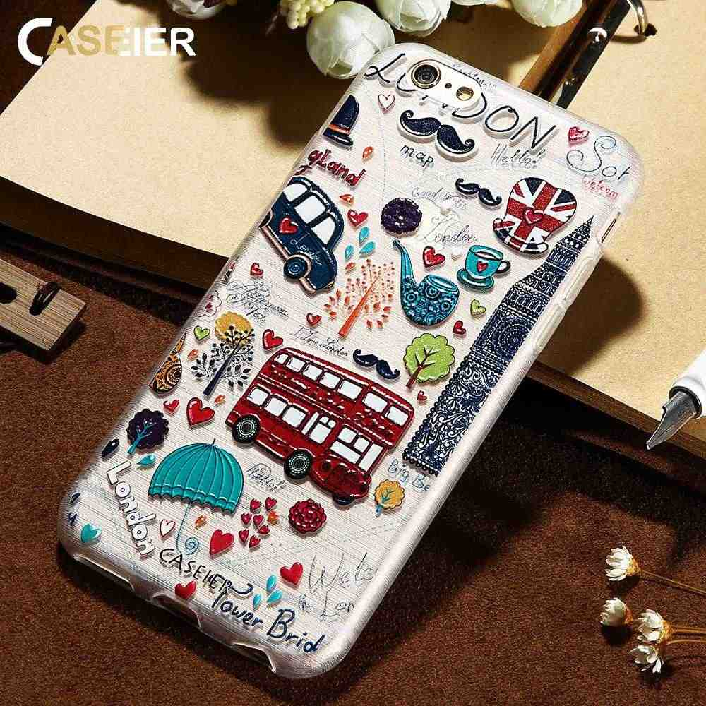 CASEIER Soft Relief Case For iPhone X 8 7 6 6s Plus XS Max XR 5s SE Cases For Samsung Galaxy S8 S9 Plus S6 S7 Edge Note 8 9 10