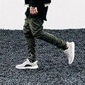 Punkool yeezy boost cremallera lateral pantalones harem 2016 otoño para hombre desollado kanye west de los hombres ocasionales adelgazan pantalones harem elástico