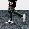 Yeezy punkool impulso esfola calças dos homens harem pants 2016 outono zíper lateral kanye west dos homens magro ocasional harem pants elásticas