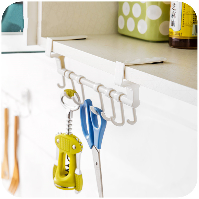 Permalink to Towel Rail Hanger Bar Holder incognito Kitchen Cabinet Cupboard over Door with 7 hook, tableware holder Kitchen accessories