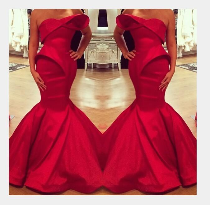robe de soiree 2019 Saudi Arabian Design Red Sweetheart Mermaid Satin Floor Length Evening Dresses Custom Prom evening Dress