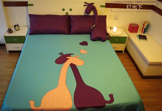 Violet Bleu Girafe Imprimer Ensemble De Literie Chambre Lit Feuilles