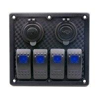 4 Gang Auto ATV Marine Boat Circuit Blue LED Rocker Panel Switch Waterproof