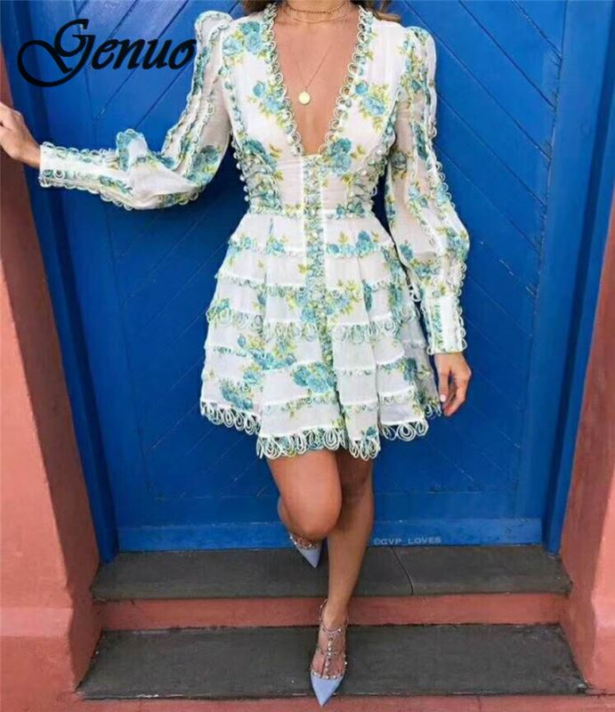 Sexy Dress 2019 Women 39 s High Quality Puff Sleeve Sexy V neck Floral Printed Embroidery Button Resort Dress in Dresses from Women 39 s Clothing