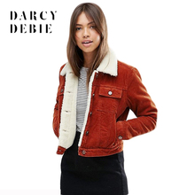 Darcydebie Winter Warm Thick Women Corduroy Jacket Lambs Wool Vintage Single Breasted with Pockets Coat Female casaco feminino
