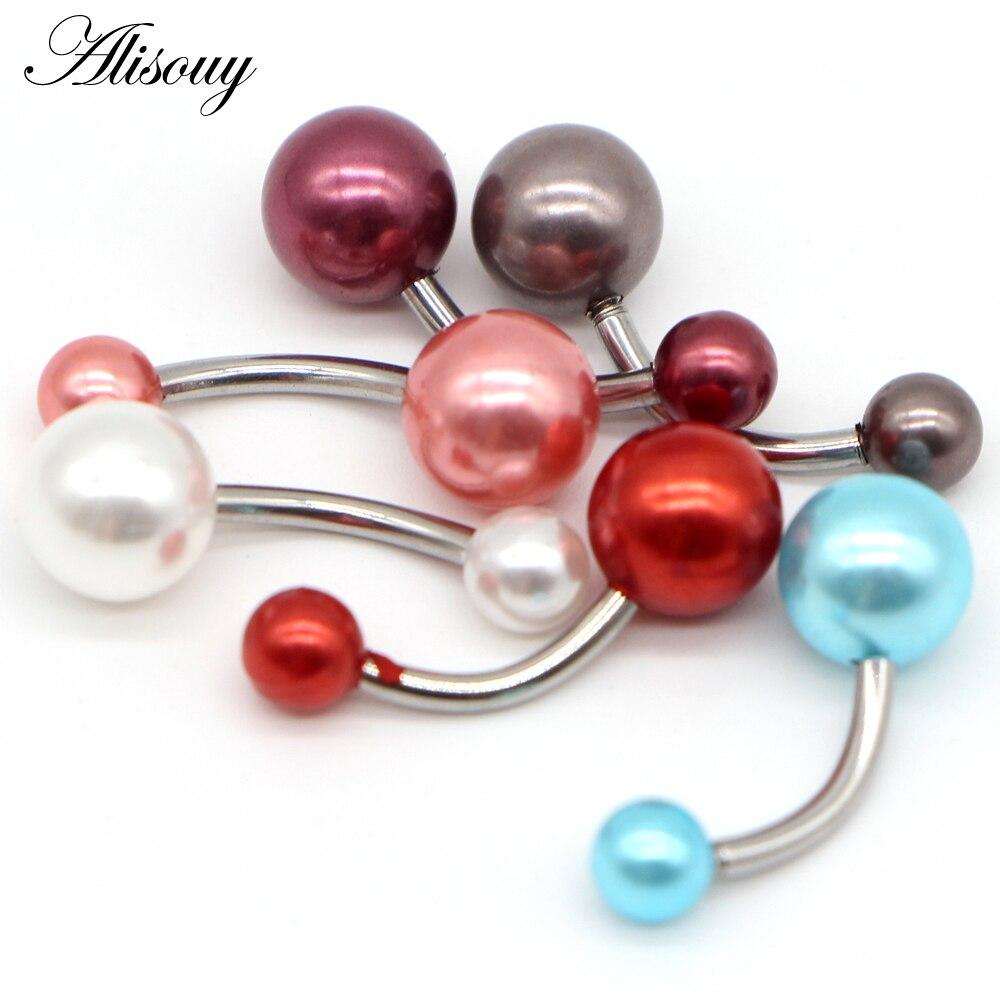 Кольцо Alisouy для пупка с шариком, ювелирное изделие для пирсинга пупка из нержавеющей стали, 6 цветов, с s-образной жемчужиной, 1 шт.