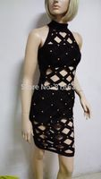 2015 Women Newest Style Black Red White Yellow Green High Neck Sleeveless Studded Bandage Dress Cocktail