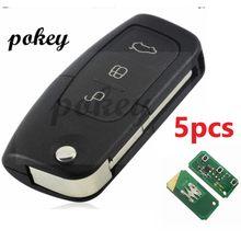 5 pçs/lote para ford 3 buttonsremoto chave automática fob caso 433 mhz 4d63 circuito integrato