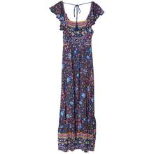 Boho Inspired 2017 summer dresses floral print cotton backless long maxi dress hippie chic ruffles sleeve women sexy vestidos