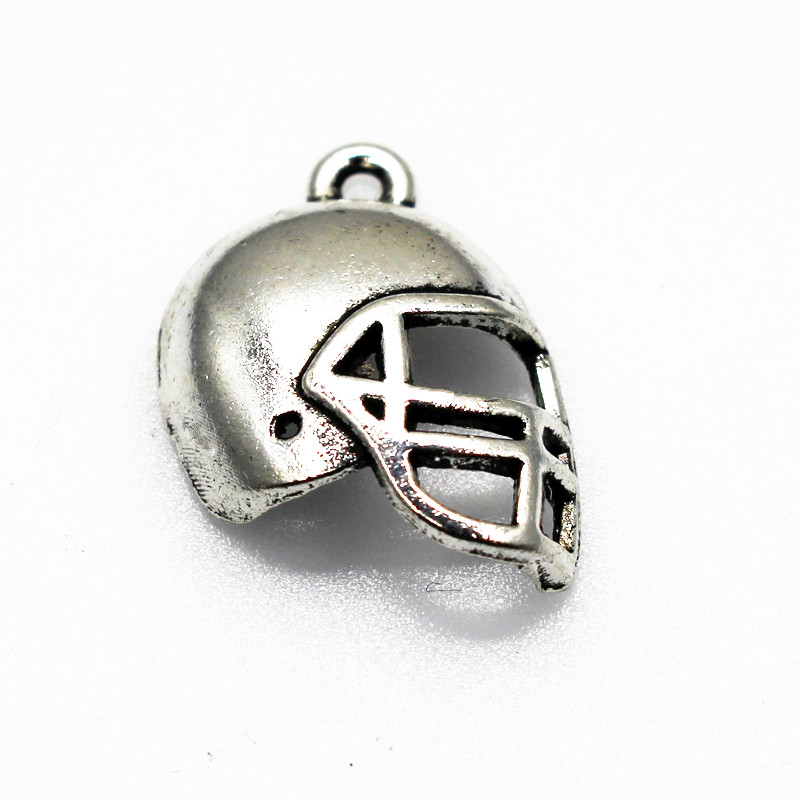 2017 Hot New 20pcs/lot Sports Football Helmet Silver Plated Alloy Hanging Dangle Charms Floating Charms Fit DIY Fashion Jewelry