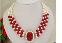 Classic 3rows 7 8mm Round White Freshwater Pearls Red Bead Necklace A0326
