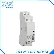 25A 2P 1NO 1NC 110V Modulus of household AC mini contactor,home contactor, Hotel Restaurant modular contactor