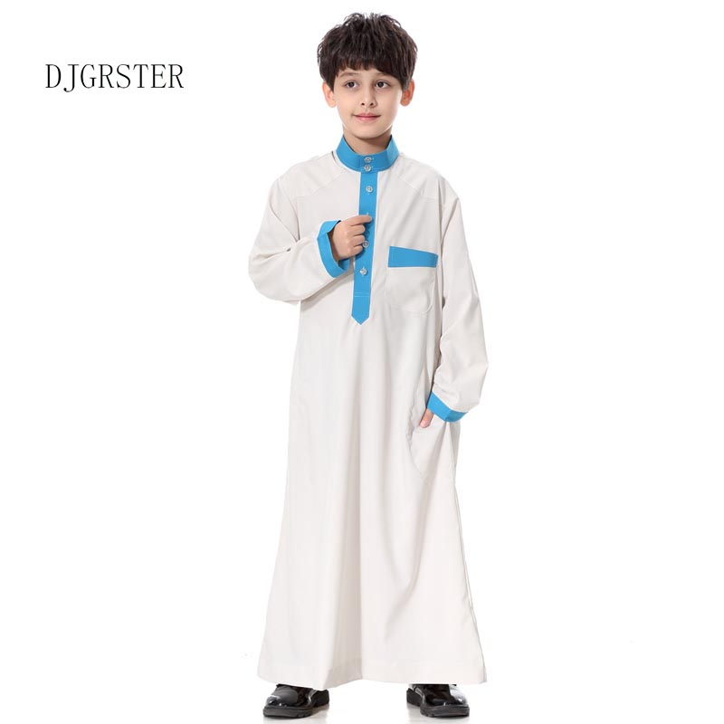 DJGRSTER  Muslim Arab Boys Robe Islamic Abaya Islamic Clothing Mens Muslim Arab Long Sleeve Middle East Teenage Boy Robe Clothes