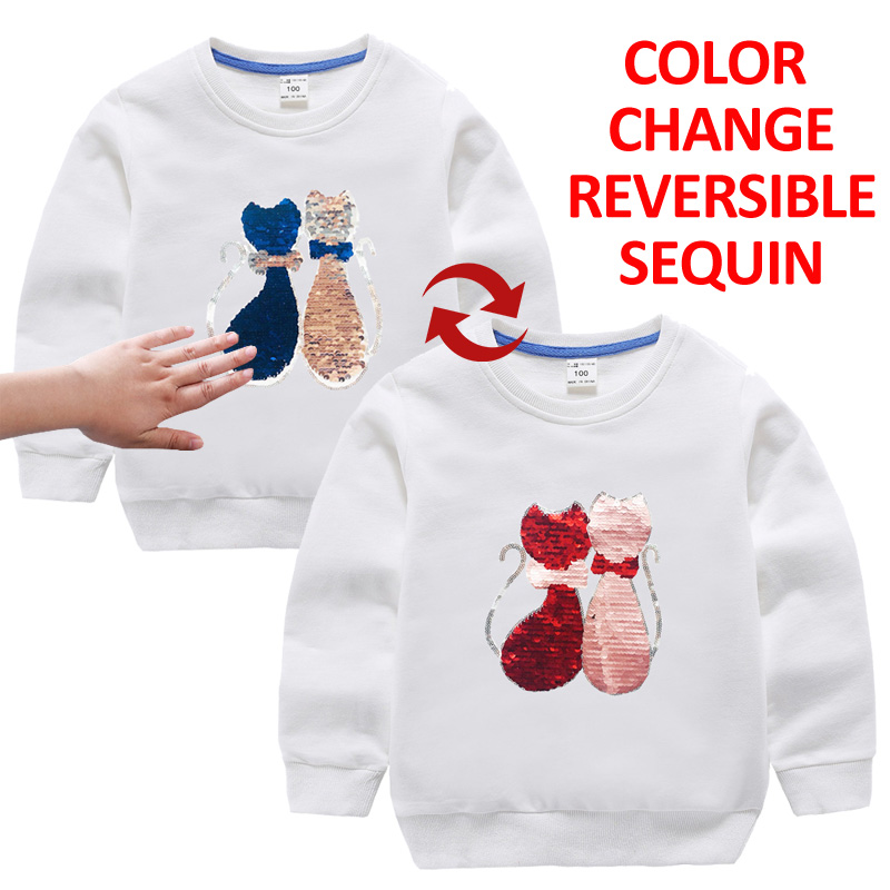 Reversible Sequined Cat Autumn Winter Girls T-shirts for Children T-Shirts For Girls Tshirts Long Sleeve kids Tops Girl Clothes digitalfoto tilta a7 professional dslr camera rig cage with baseplate wooden handle top handle for sony a7 a7s a7s2 a7r a7r2