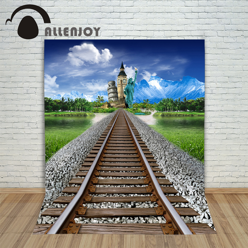 Vinyl photo studio background Railway construction grassland lake water backdrop picture childrens photocall