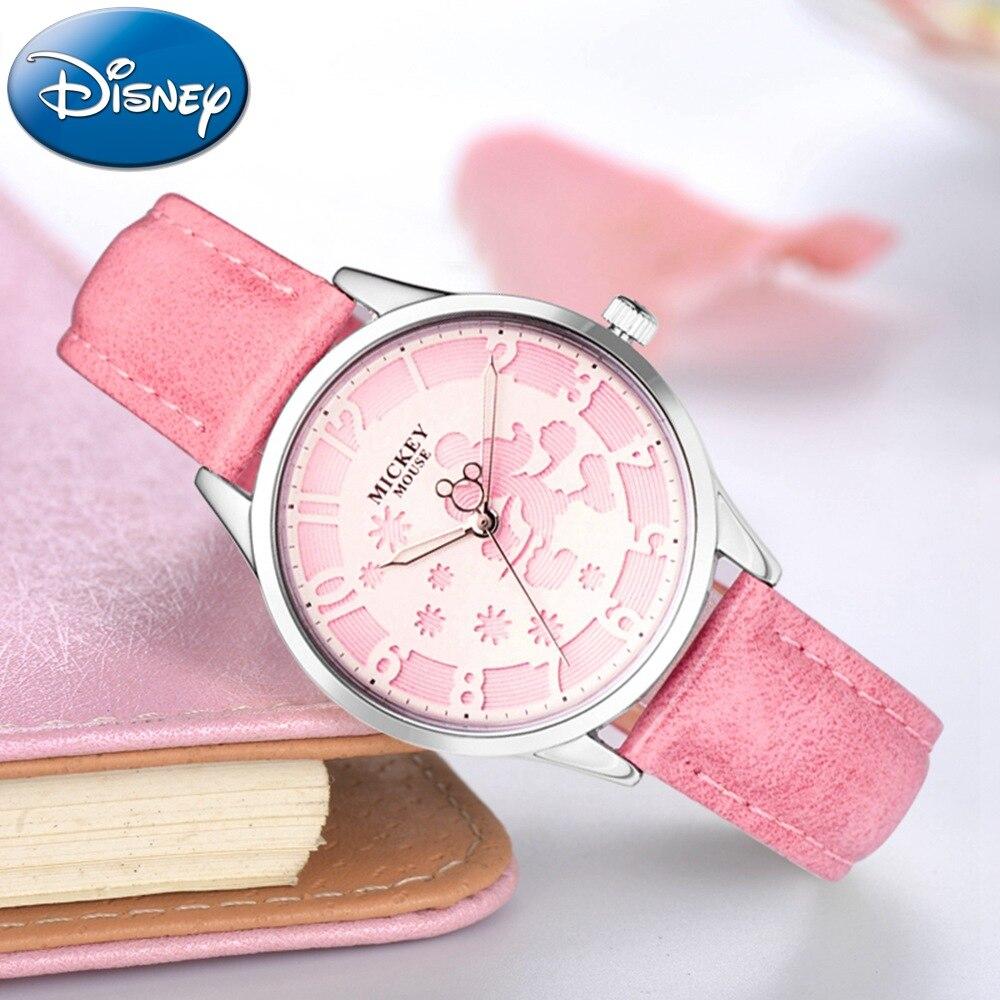 Disney Walking Mickey Engrave Design Ladies Leather Strap Luminous Hands Japan Quartz Movement Watches Women Wearing Clocks New