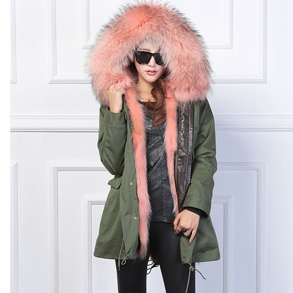2017 women's army green Large color raccoon fur hooded coat parkas outwear long detachable lining winter jacket brand style zoe saldana 2017 winter jacket women detachable lining natural large fur hooded army green cotton coat outwear thick warm parkas