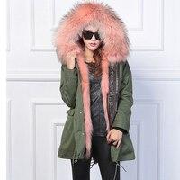 2017 Women S Army Green Large Color Raccoon Fur Hooded Coat Parkas Outwear Long Detachable