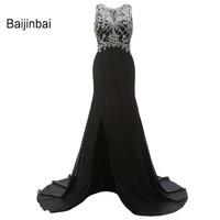 New Fashion Sexy Black Real Long Evening Dresses 2016 Beading Sequins Custom Robe De Soiree Zipper