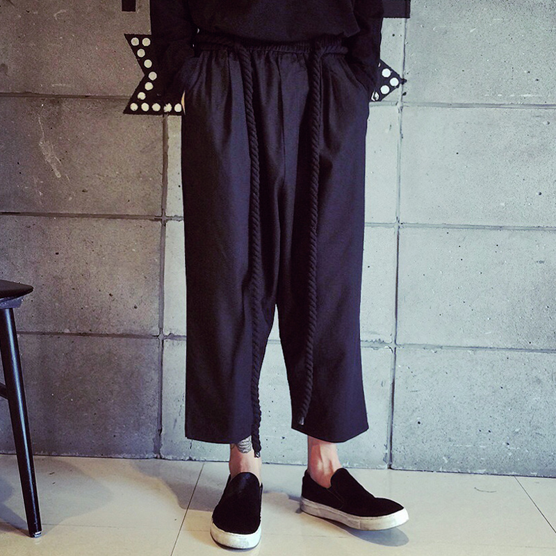 Новая Повседневная мужская Брюки Мужчины Harajuku Моды Случайные Белье Ретро Конопли Веревки Пояса Свободные Широкую Ногу Брюки Ночной Клуб Панк костюмы