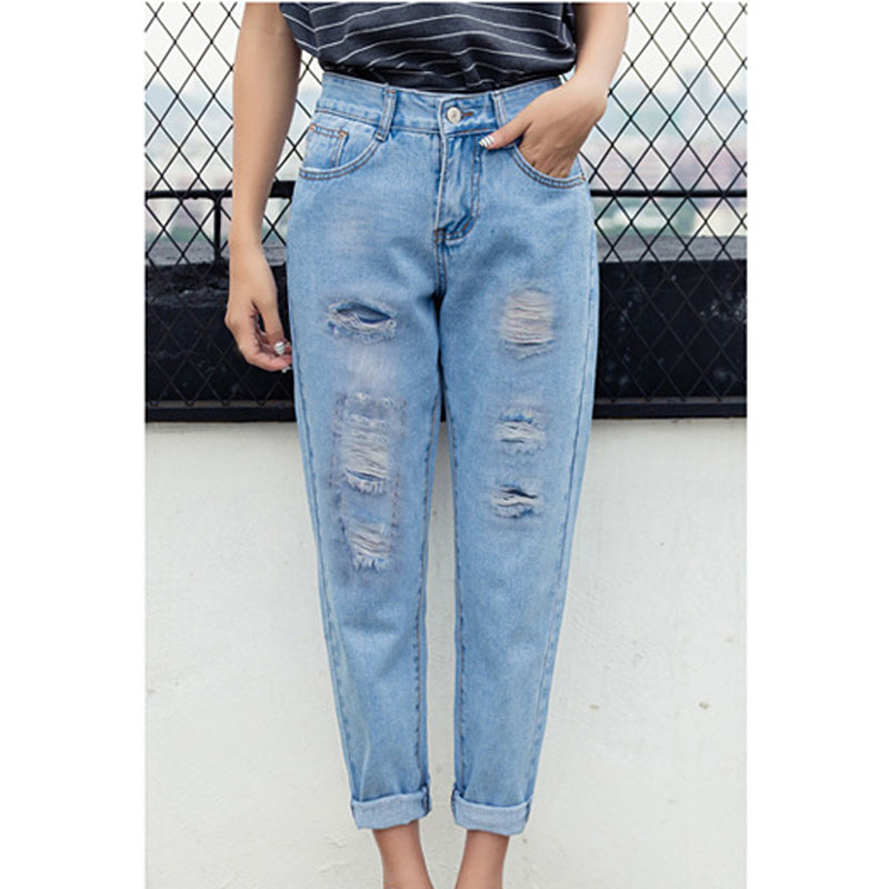 Preferential 2018 Europe and America Ladies washed hole   jeans   casual womens ripped   jeans   fashion womens blue denim pants