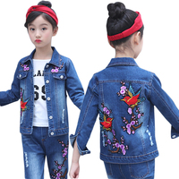 Children Clothing Set Korean Girls Denim Suit Spring Outfits SportsWear Teenaage Casual Jacket + Jeans 2pcs for 4 6 8 10 14 Year