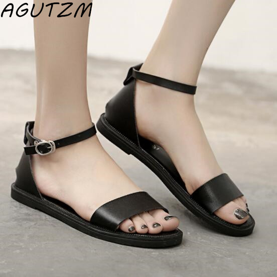 AGUTZM New Summer Women Sandals Sweet Flats Comfortable Beach Sandals Casual Summer Shoes Fashion PU Ladies Sandals