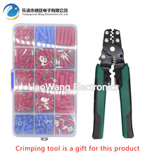 240 PCS insulated cold-pressed terminals Fork-shaped round 6.3 Reed-in blades Terminal block line nose combination set цена и фото