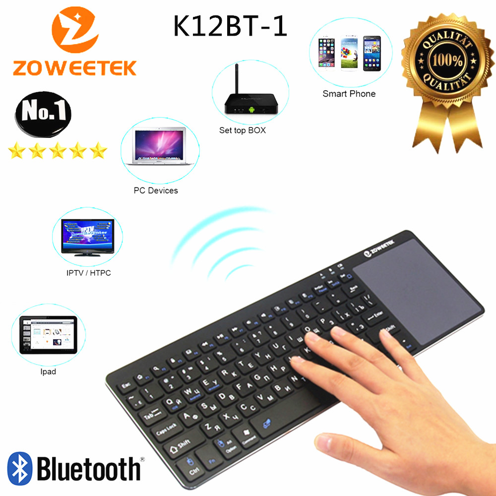 Zoweetek K12BT-1 Mini Sem Fio Russo Inglês Hebraico Espanhol Teclado Bluetooth Touchpad Controle Remoto para PC Android TV Box