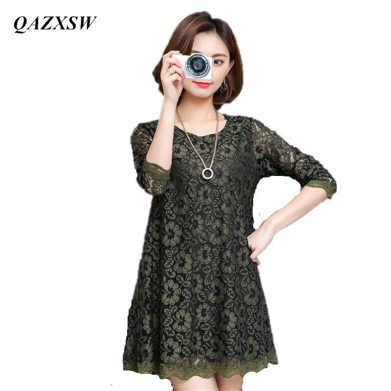 QAZXSW nouveauté printemps femmes Blouses chemises décontractées amples dentelle Blouse à manches longues haut pour femme grande taille M-4XL Blusa YX2037