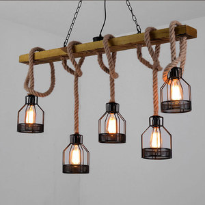 Image 3 - American retro multi heads pendant lamp industrial wind headlight clothing store living room bar cafe creative twine chandelier