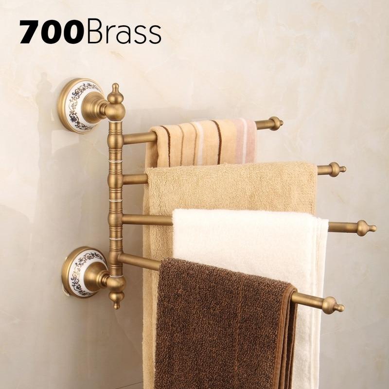 Brass 2 6 Bars Antique Flexible Towel Bars Holder Rotation Ceramic Base Wall Mounted Towel Bars