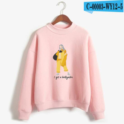 New Fashion Billie Eilish Pink Hoodie Women Long Sleeve Turtleneck Sweatshirt K-POP Hip Hop Pullover Jumper Harajuku Tracksuit 4